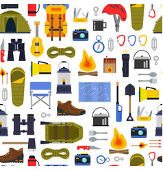 flat style camping elements pattern or vector image vector image