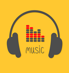 headphones equalizer and black word music icon vector image