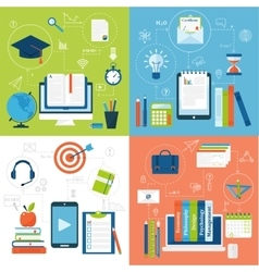 Online education flat icons set of distance vector image
