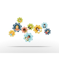 People working in a team as gear mechanism vector image