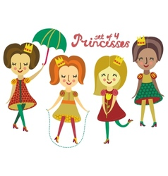 Set of 4 cute colorful Princesses vector image