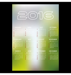 2016 simple business blur background wall calendar vector image vector image