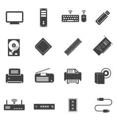 Big data icons set computer infrastructure vector