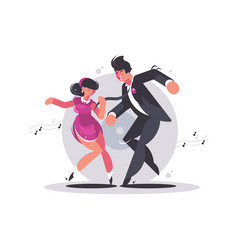 happy couple of guy and girl dancing vector image