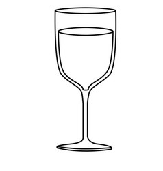 monochrome silhouette of glass cup with champagne vector image vector image