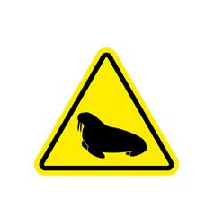 Walrus warning sign yellow seal hazard attention vector