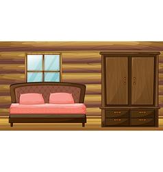A bed and a wardrobe vector image vector image