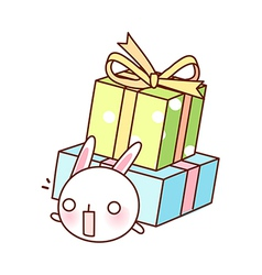A rabbit under two boxes vector image vector image