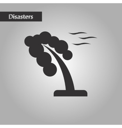 black and white style strong wind tree vector image
