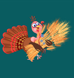 cartoon thanksgiving turkey character holding vector image