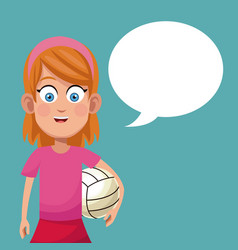 Girl sport game volleyball vector