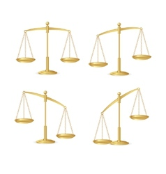 Gold justice scales set isolated on white vector image