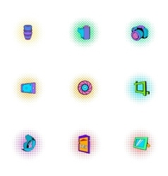 Taking photo icons set pop-art style vector image vector image