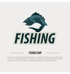 Vintage fishing label badge poster template or vector image vector image