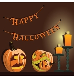 background Halloween pumpkins and candles vector image