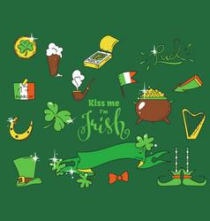 cartoon elements for the irish st patricks day vector image vector image