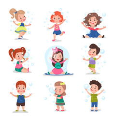 cute little children blowing and playing with soap vector image