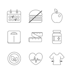 Healthy fitness diet icons linear set vector image