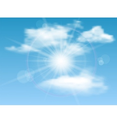 Nature background with sky sun and clouds vector image vector image