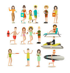 summer people flat icon set vector image