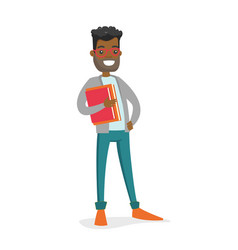 African-american college student holding books vector