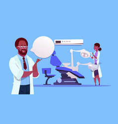 african american doctors team over dental office vector image