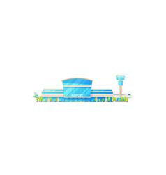 airport terminal building facade passenger planes vector image
