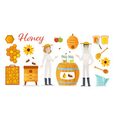 Beekeeping apiculture icons vector