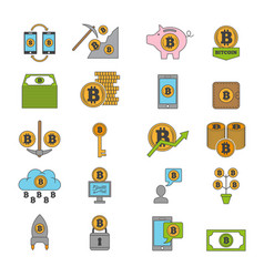 bitcoin and other symbols crypto industry vector image