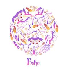 Boho round pattern dream vector