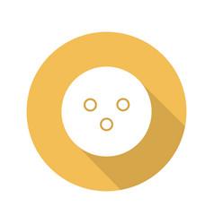 bowling ball flat design long shadow glyph icon vector image
