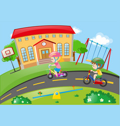 boy and girl riding bike in the park vector image