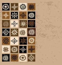 brown ethnic background with squares and sun vector image