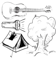 Camping objects collection vector image