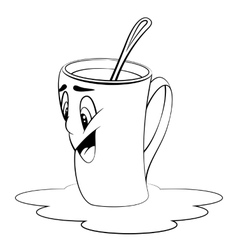 Cartoon cup Surprised expression Coloring page vector