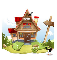 Cartoon fairy house on a green hill with a vector