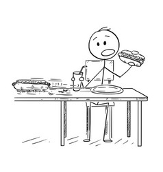 Cartoon of man eating hotdog and drinking cola vector