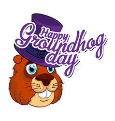cartoon old groundhog in a hat and the vector image