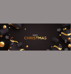 christmas banner 3d black and gold decoration vector image