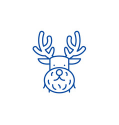 christmas deer line icon concept christmas deer vector image