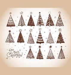 christmas doodles with set decorative christmas vector image