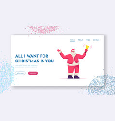 Christmas personage website landing page kind vector