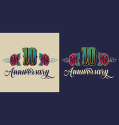 Colorful 10 years anniversary label vector