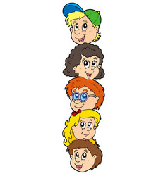 Column with kids faces vector