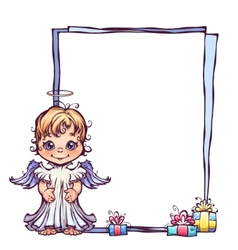 Cute angel with frame vector