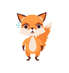 Cute angry fox character funny forest animal vector