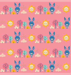 cute bunnies in forest seamless pattern vector image
