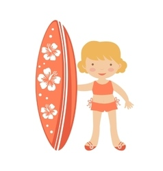 Cute little girl surfing vector