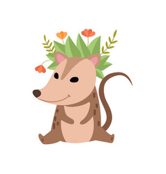 cute opossum wearing wreath flowers adorable vector image