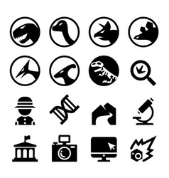 dinosaur icon set vector image